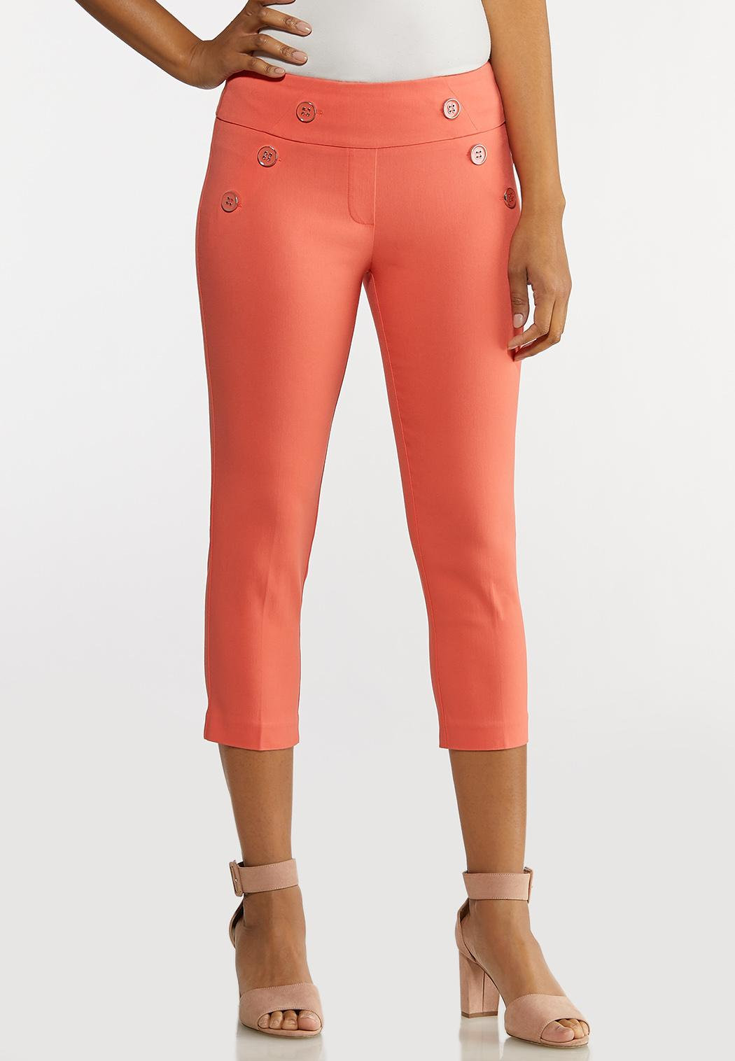 Cropped Coral Sailor Pants