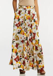 Plus Size Painted Floral Skirt