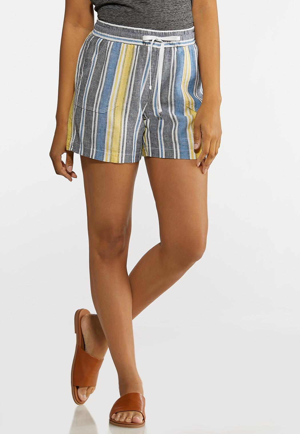 Denim Stripe Linen Shorts