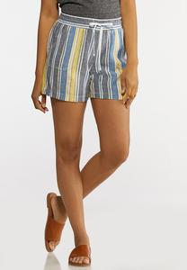 Denim Stripe Linen Shorts