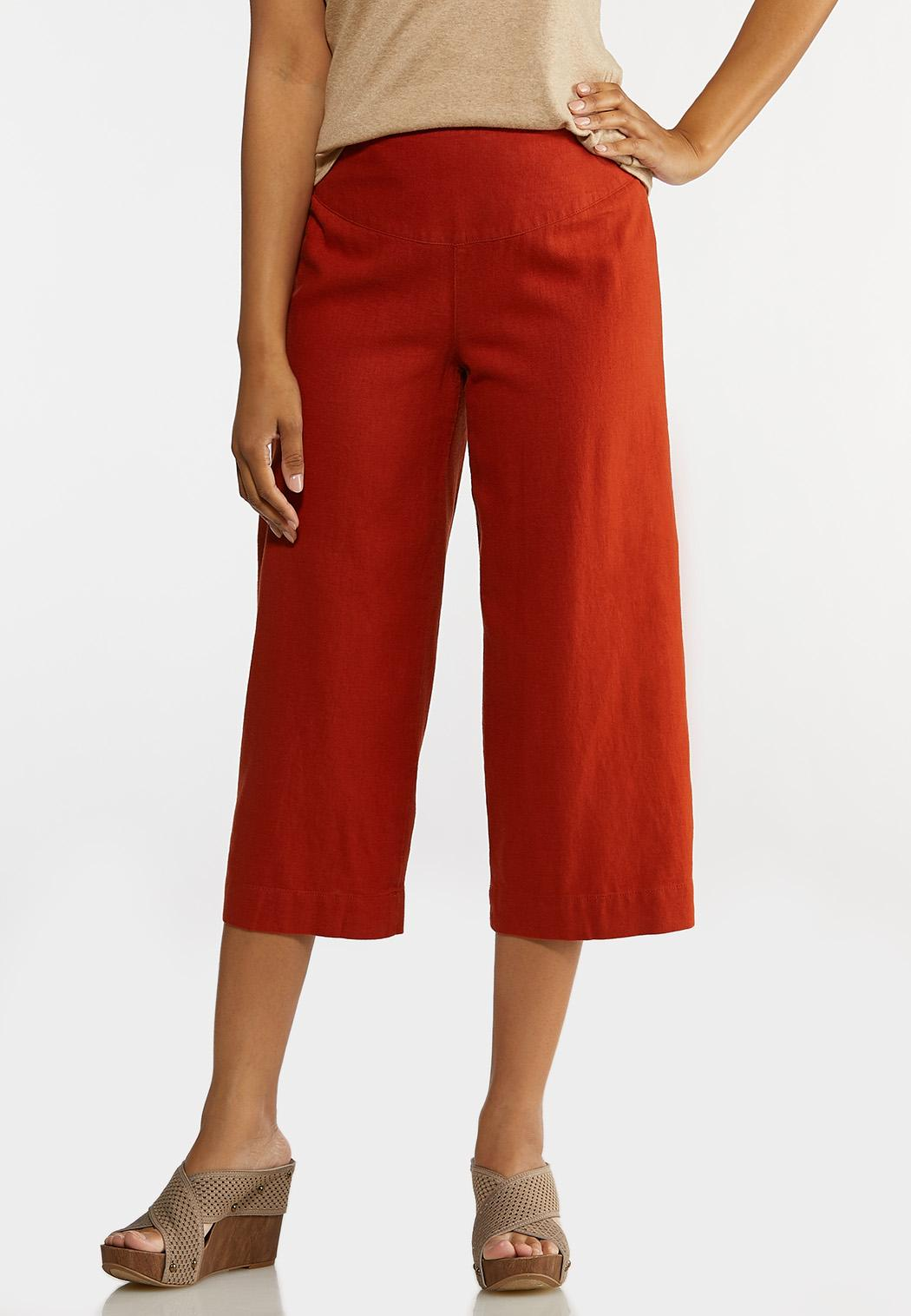 Cropped Solid Linen Pants