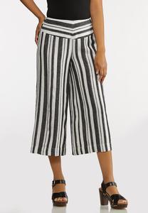 Metallic Stripe Cropped Pants