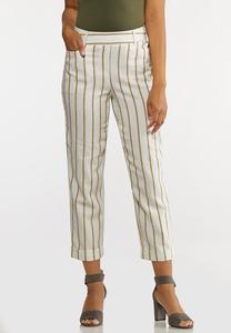Cropped Striped Linen Pants