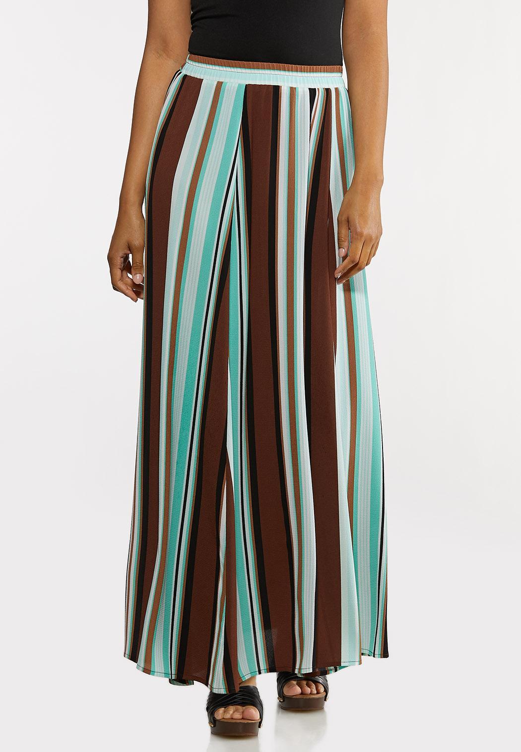 Plus Size Stripe Crepe Maxi Skirt