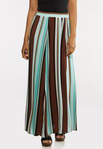 Plus Size Stripe Crepe Maxi Skirt
