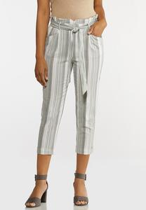 Olive Stripe Linen Pants