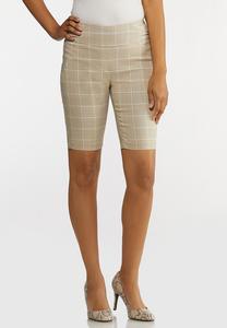 Windowpane Bermuda Shorts
