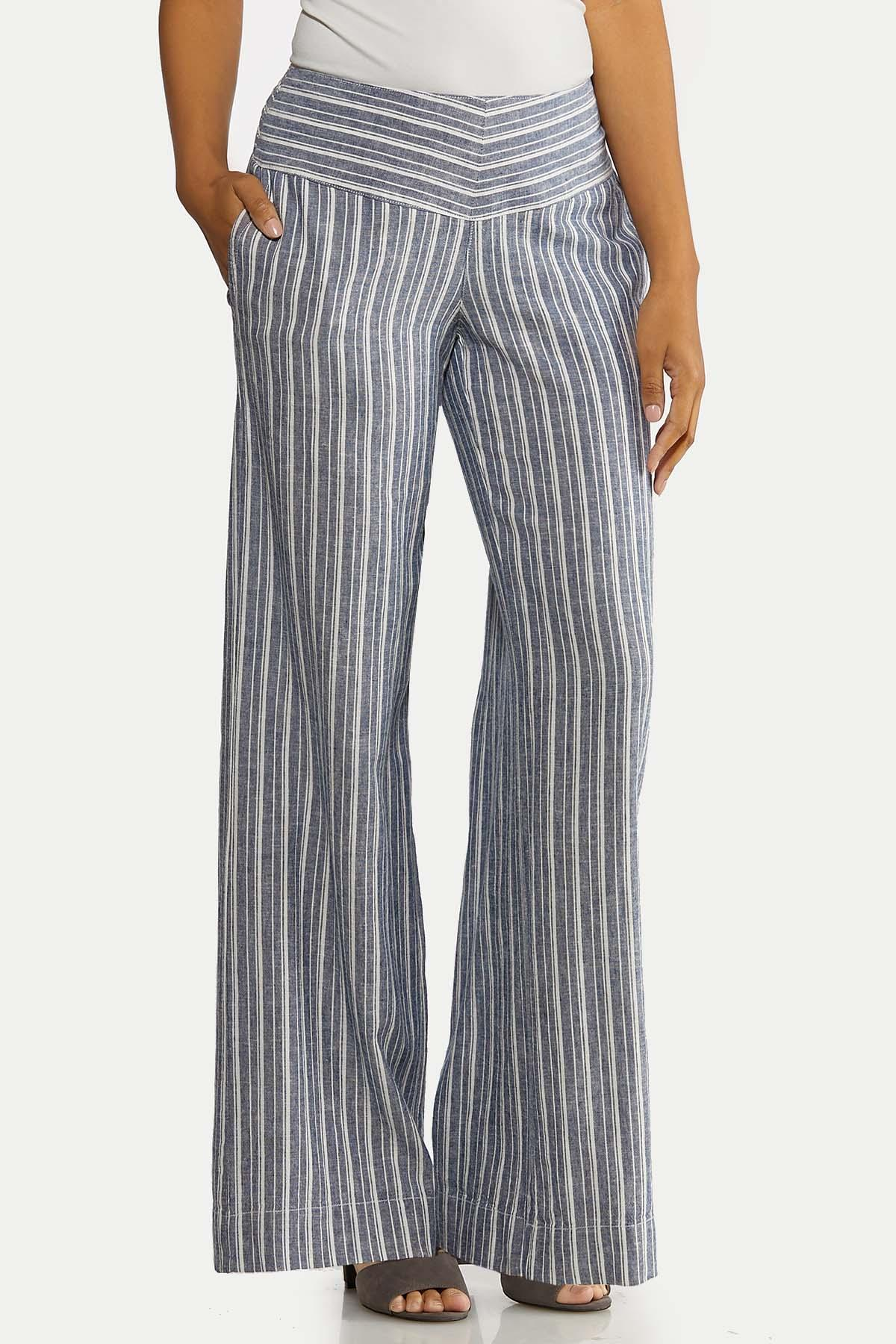 Blue Stripe Linen Pants