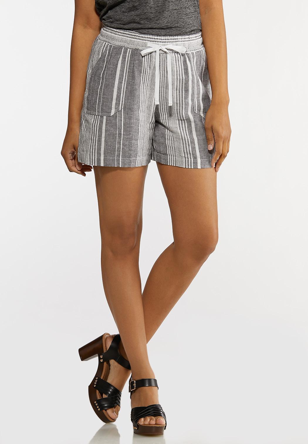 Gray Stripe Linen Shorts