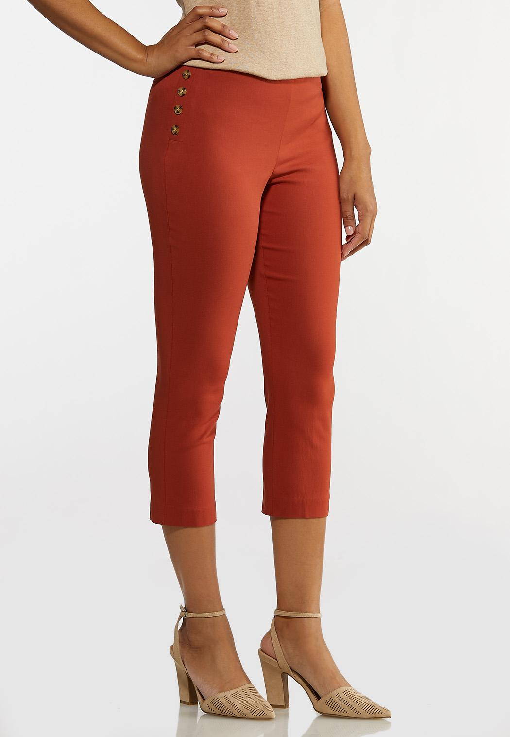 Cropped Tortoise Button Pants