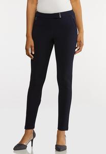 Textured Navy Slim Pants