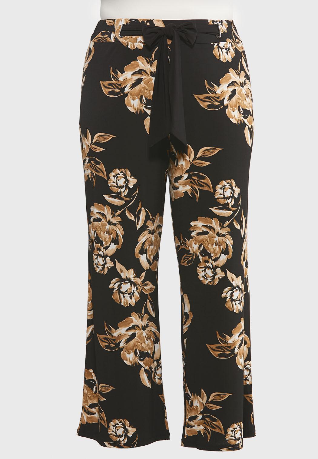 Plus Size Wide Leg Floral Pants