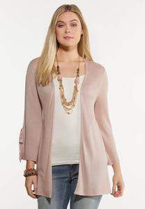 Plus Size Tie Sleeve Blush Cardigan