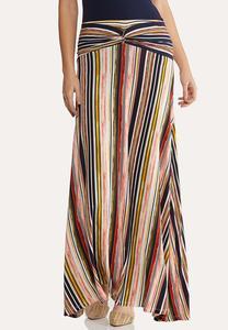 Plus Size Twist Stripe Maxi Skirt