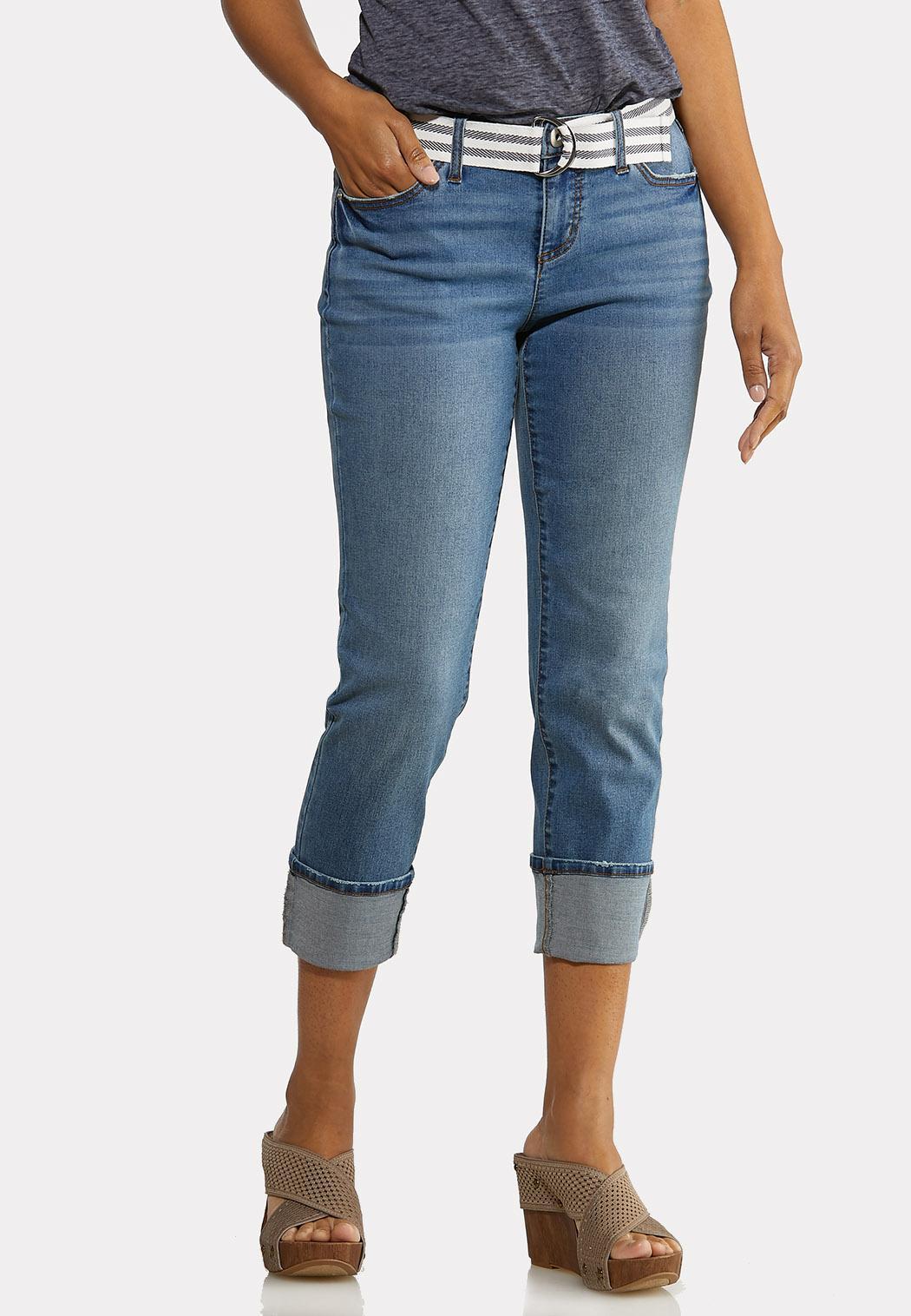 Belted Boyfriend Jeans