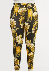 Plus Size Sunflower Cropped Leggings