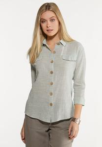 Plus Size Button Down Linen Shirt