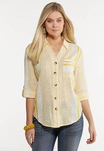 Plus Size Yellow Mixed Stripe Shirt