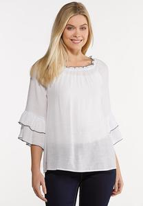 White Crepe Poet Top