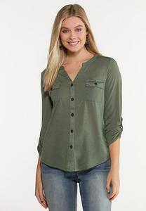 Plus Size Solid Button Front Top