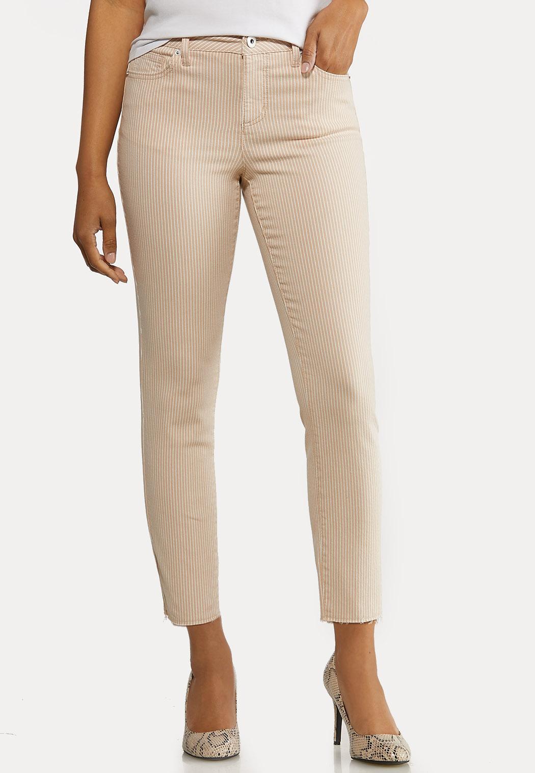 Neutral Stripe Ankle Jeans