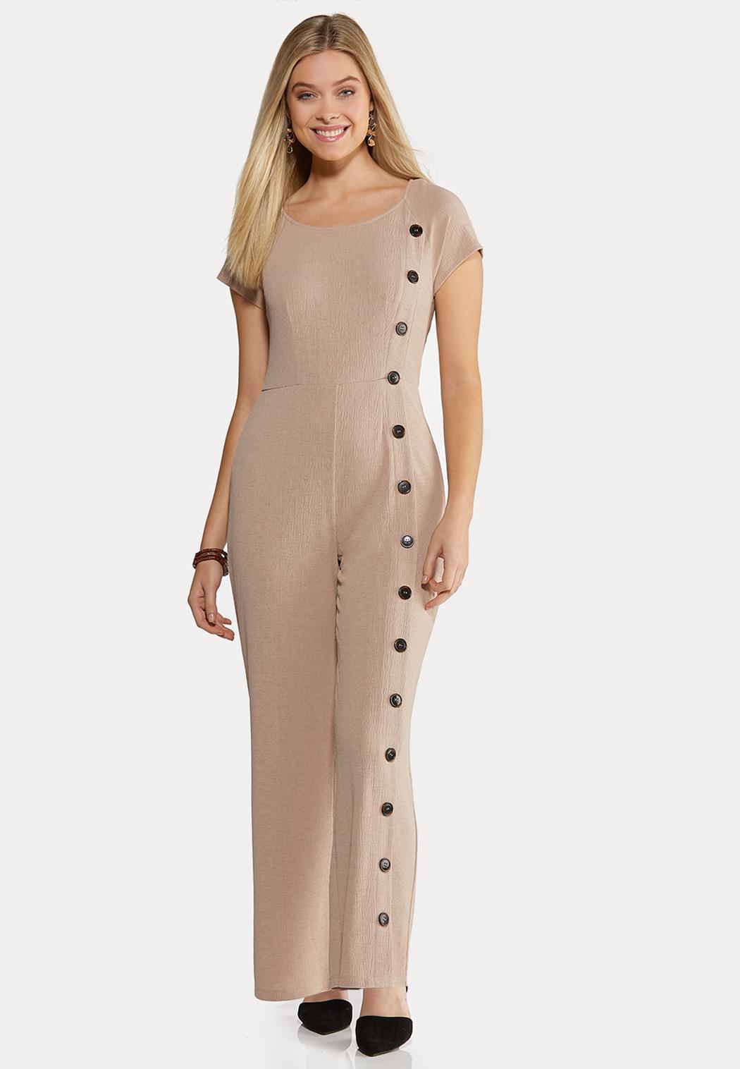 Plus Size Button Down Jumpsuit