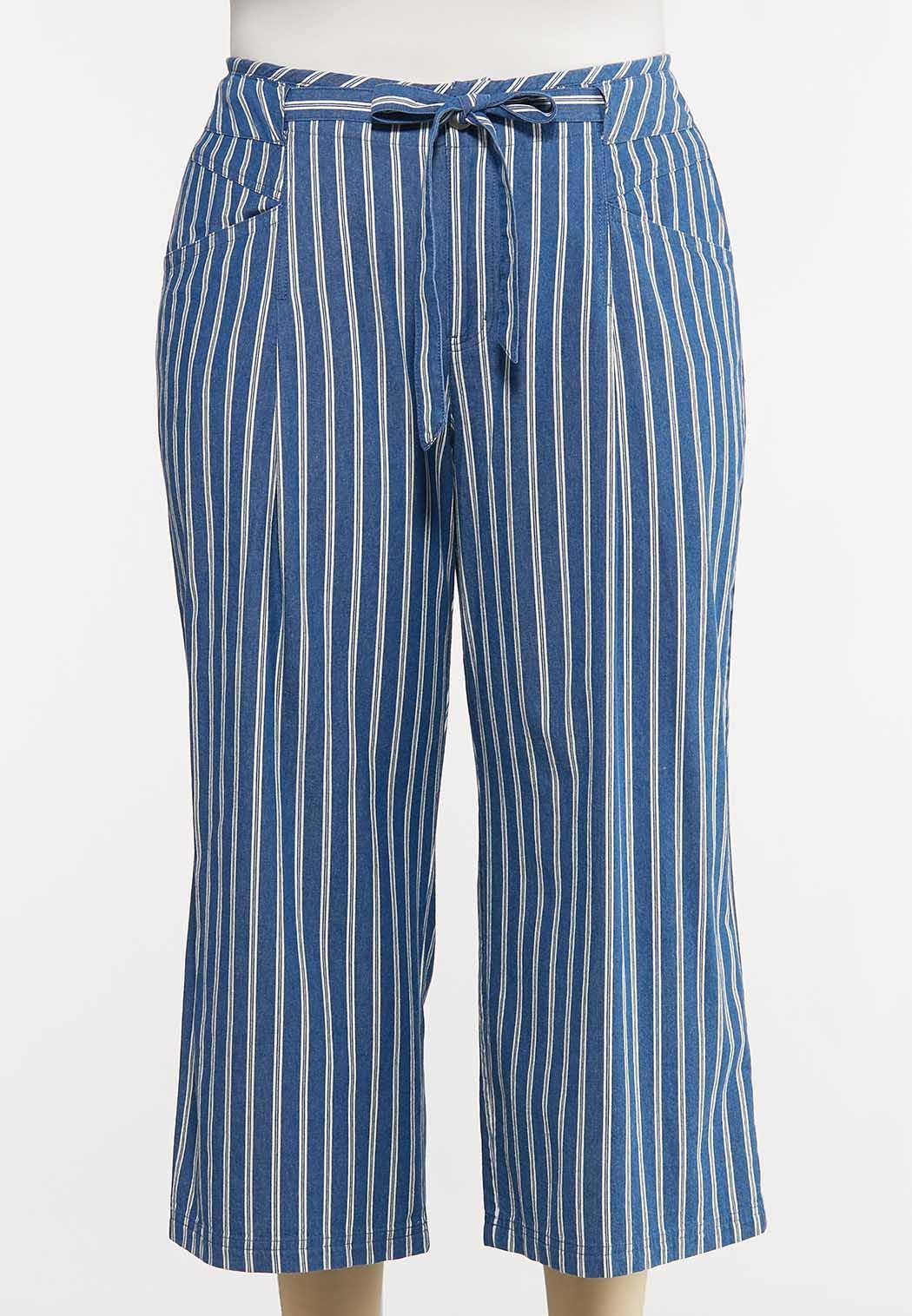 Plus Size Denim Stripe Pants