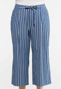 Plus Size Denim Stripe Pants