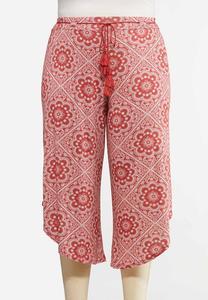Plus Size Cropped Tassel Tie Pants