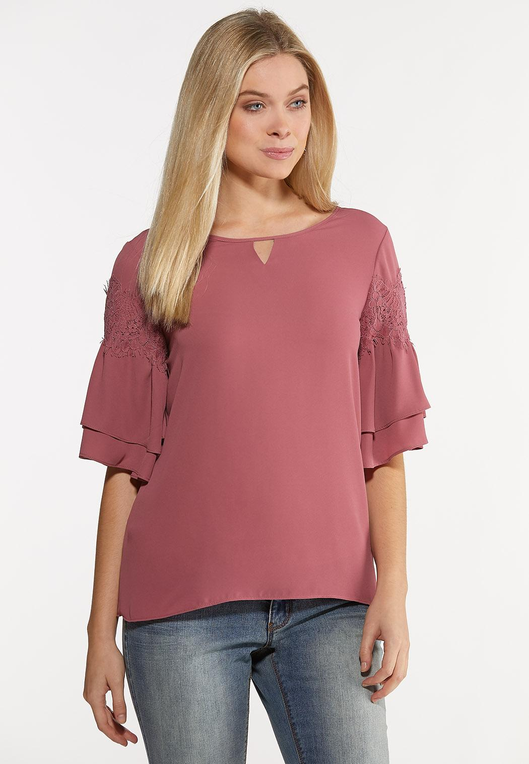 Ruffled Lace Sleeve Top
