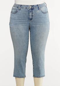Plus Size Acid Wash Cropped Jeans