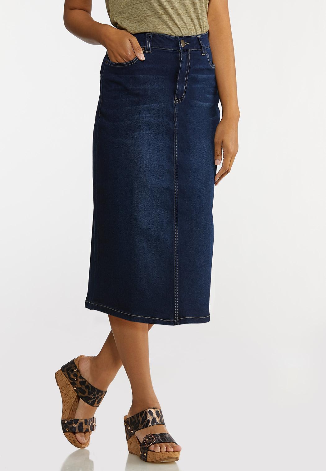 Plus Size Denim Pencil Skirt