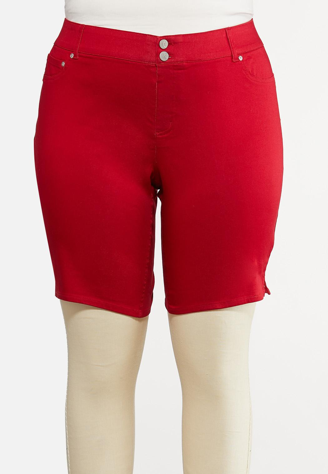 Plus Size Red Curvy Denim Shorts