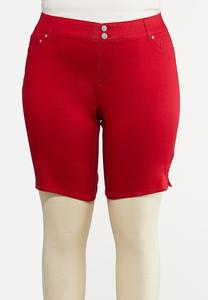 Plus Size Red Denim Shorts