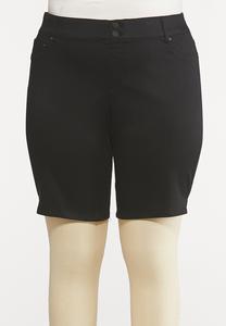 Plus Size Black Denim Shorts