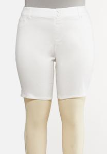 Plus Size White Curvy Denim Shorts