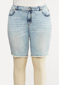 Plus Size Vintage Wash Denim Shorts