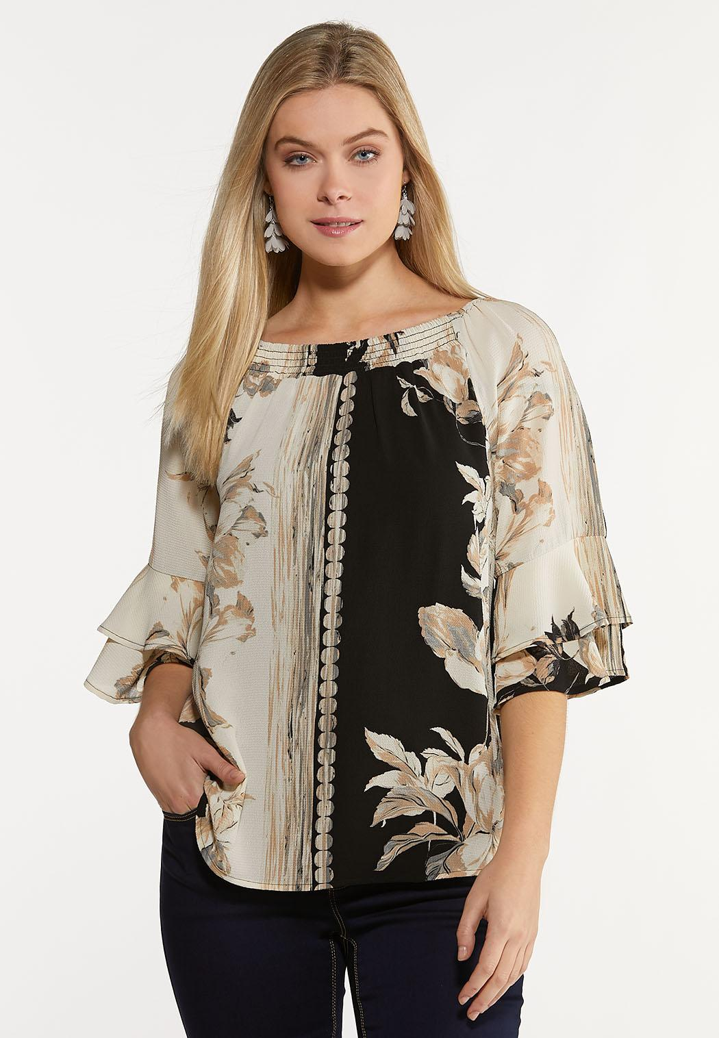 Plus Size Natural Floral Poet Top