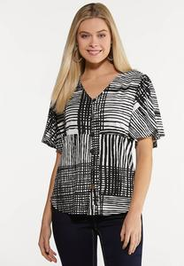 Contrast Scattered Stripe Top