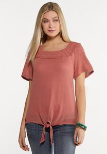Blushing Crochet Trim Top