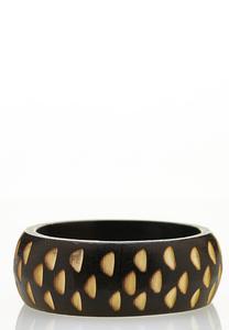 Carved Wood Bangle Bracelet