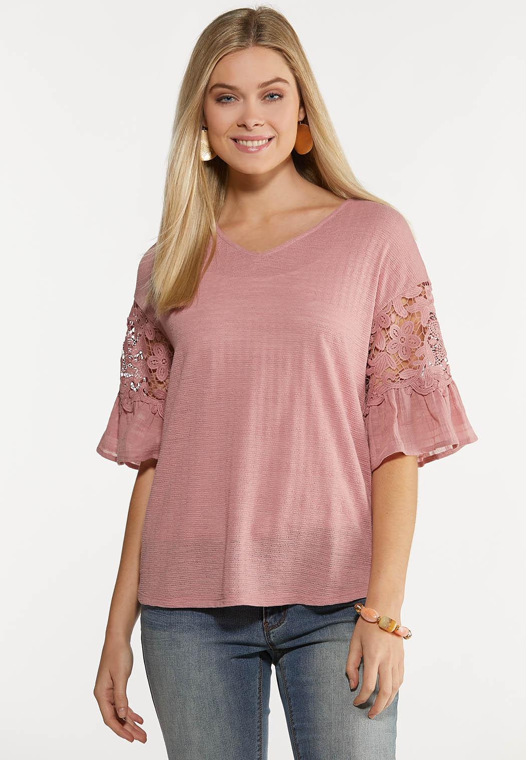 Rose Lacy Bell Sleeve Top