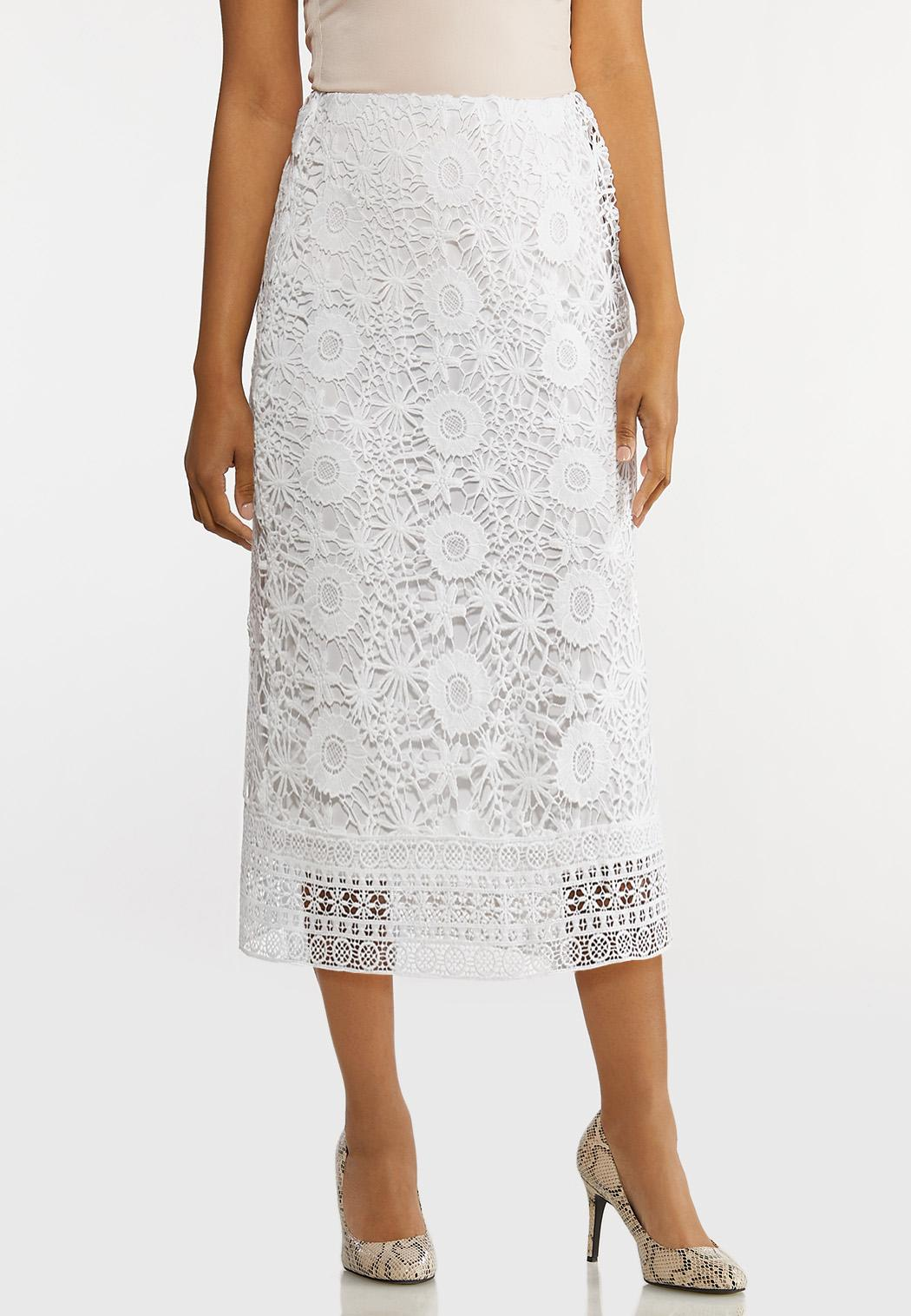 Plus Size White Crochet Pencil Skirt
