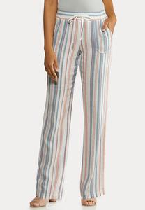 Striped Beach Linen Pants