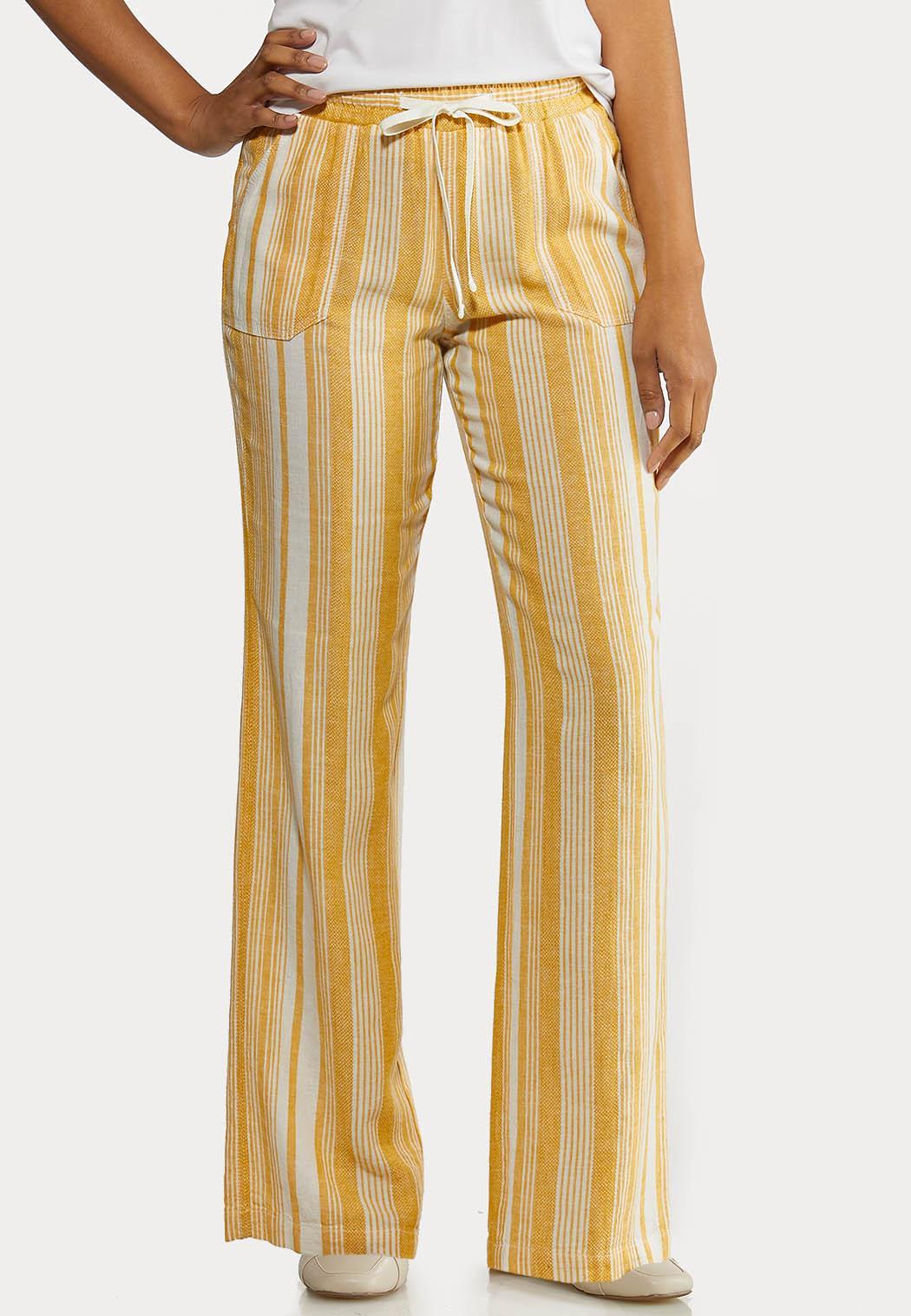 Gold Stripe Linen Pants