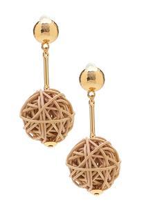 Raffia Ball Linear Earrings