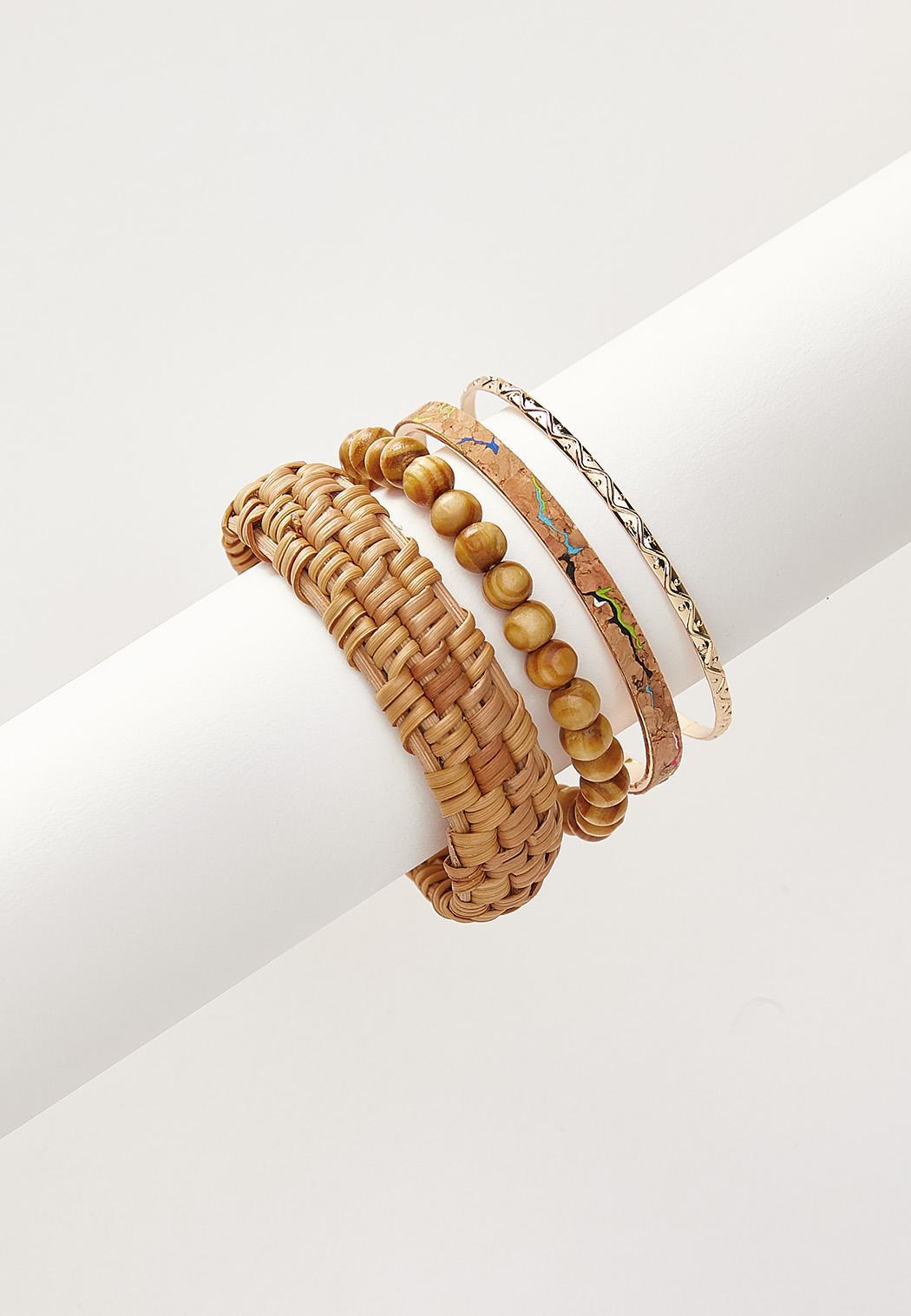Mixed Wood Raffia Bracelet Set
