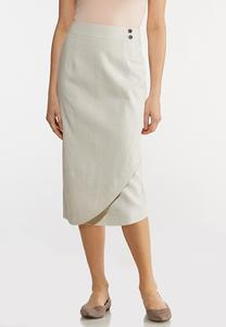 Plus Size Linen Pencil Skirt