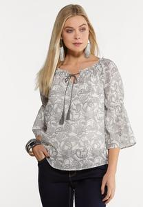 Plus Size Shady Paisley Poet Top