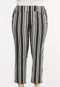 Plus Size Striped Bengaline Pants
